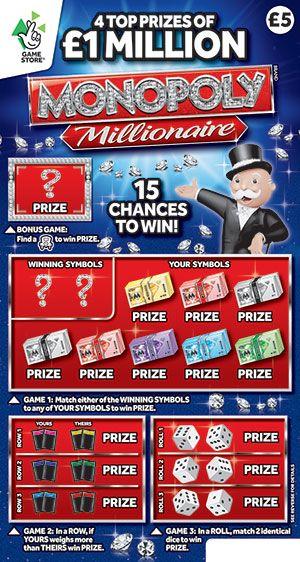 monopoly millionaire scratchcard