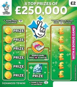 £250,000 green scratchcard