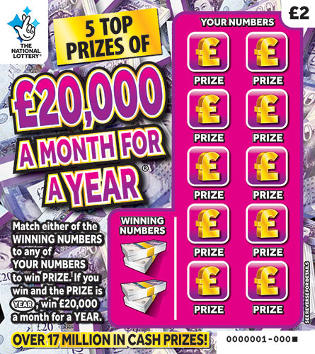 20,000 a month for a year scratchcard