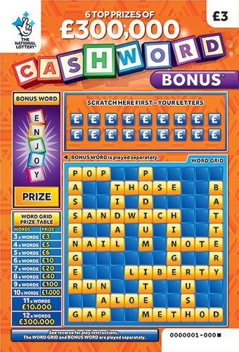 cashword bonus orange scratchcard