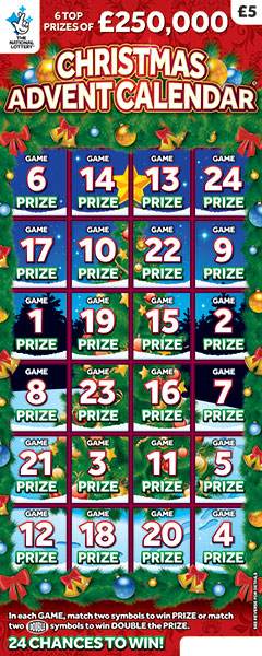 christmas advent calendar scratchcard 2019