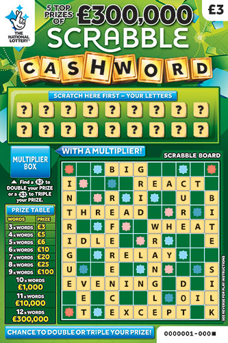 scrabble cashword scratchcard
