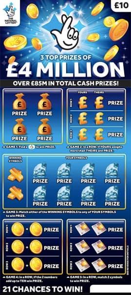 £4 million blue scratchcard