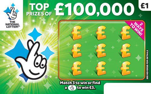 £100,000 green scratchcard
