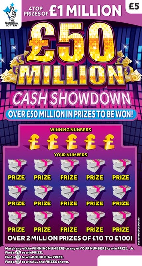 £50 million cash showdown scratchcard
