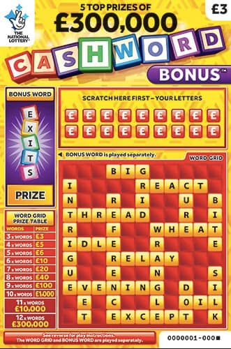 cashword bonus yellow scratchcard