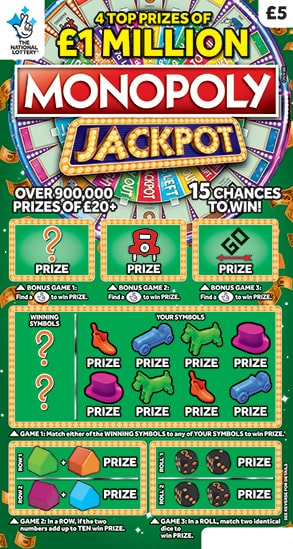 monopoly jackpot scratchcard