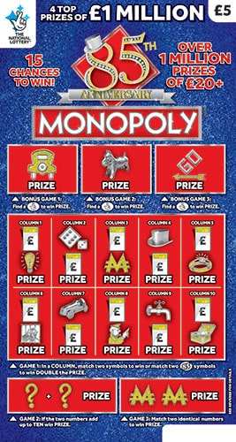 monopoly 85th anniversary scratchcard