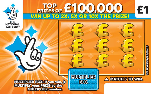 £100,000 multiplier orange scratchcard