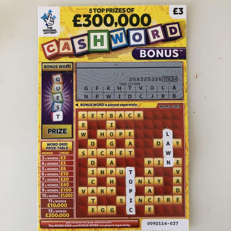 cashword bonus yellow scratched scratchcard