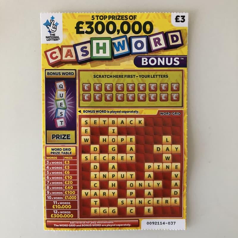 cashword bonus yellow scratchcard unscratchcard