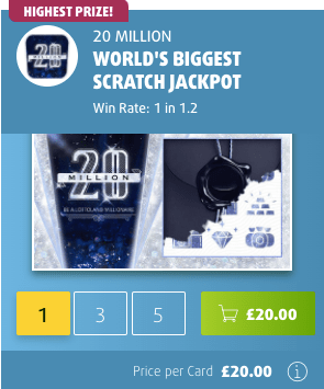 Lottoland £20 scratchcard screenshot