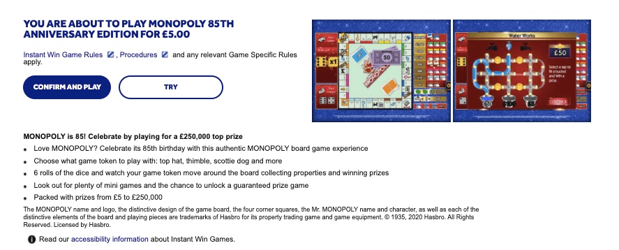 Monopoly 85th Anniversary Instant Win from National Lottery