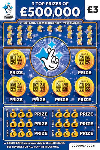 £500,000 Bonus blue scratchcard