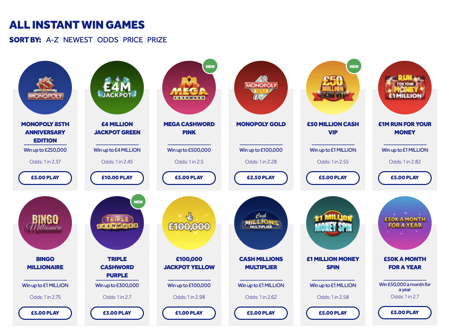 national lottery online scratchcards instant wins