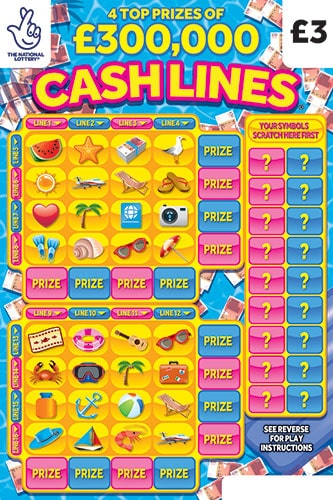 cash lines national lottery scratchcard