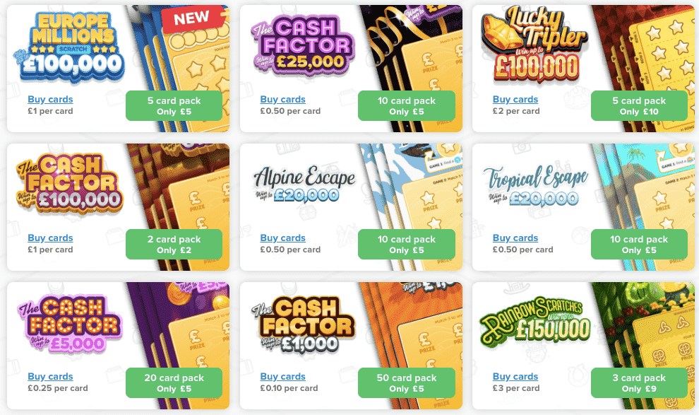 lottomart scratchcard selection screenshot