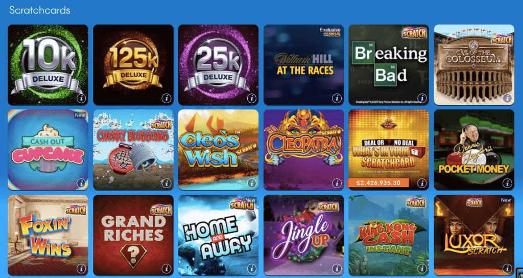 william hill scratchcard screenshot