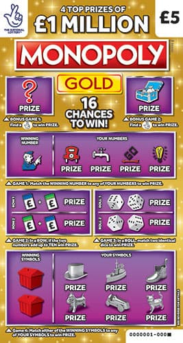£1 million monopoly gold scratchcard