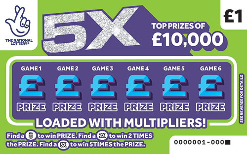 5X 2020 national lottery scratchcard