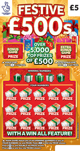 festive £500s scratchcard
