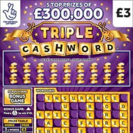 Triple Cashword Purple Scratchcard