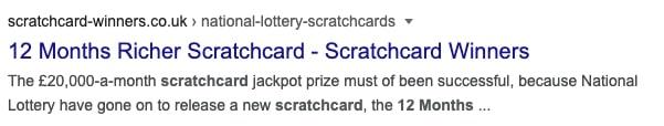 12 months richer scratchcard google screenshot