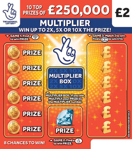 £250,000 multiplier orange scratchcard