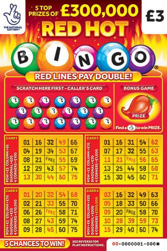 red hot bingo scratchcard