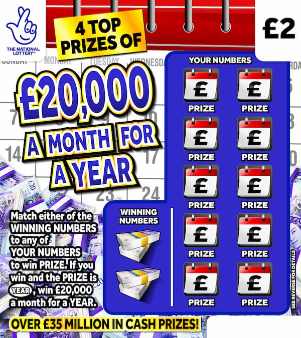 £20,000 a month for a year 2020 National Lottery scratchcard