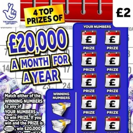 £20,000 a Month for a Year Scratchcard (2020)