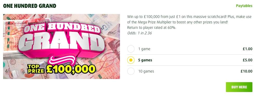 Lottoland One Hundred Grand Online Scratchcard Screenshot