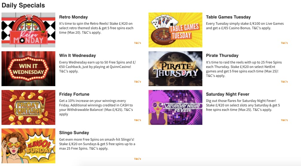 Quinnbet Casino Daily Specials Screenshot