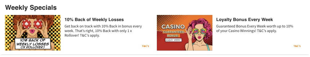 Quinnbet Casino Weekly Specials Screenshot