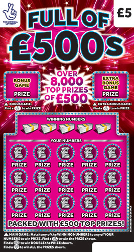 full of £500s 2021 scratchcard