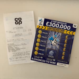 £300,000 scratchcard proof of purchase