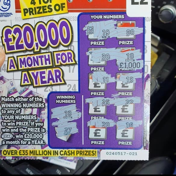 £1000 winner on the £20,000 a month for a year scratchcard
