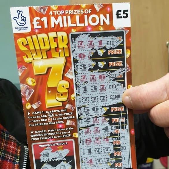 £1,000,000 Jackpot on Super 7s Scratchcard