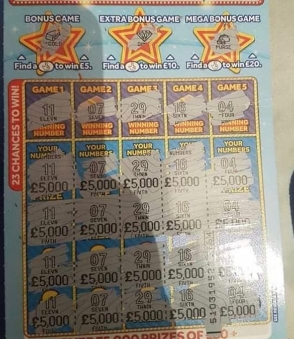 £20,000 winner on the triple jackpot scratchcard