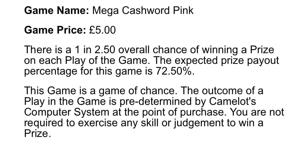 mega cashword pink instant win odds of winning screenshot
