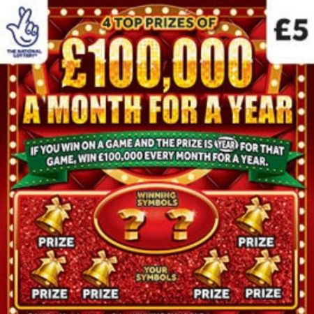 £100,000 a Month For a Year Christmas Scratchcard