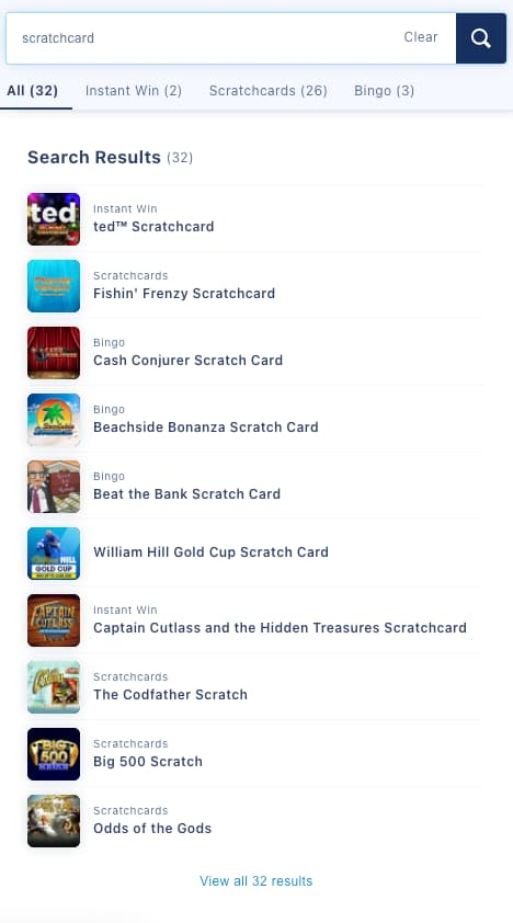 william hill all scratchcards and instant win screenshots